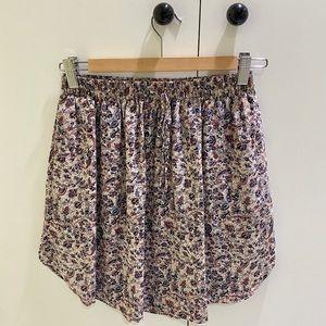 Club Monaco Circle Skater High Waisted Mini Skirt 100% Silk Paisley Print